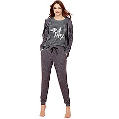 Lounge & Sleep - Dark grey star print pyjama set