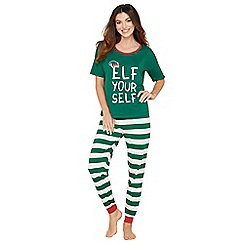 Lounge & Sleep - Green stripe print cotton blend Christmas pyjama set