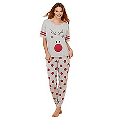 Lounge & Sleep - Grey reindeer print cotton blend short sleeve pyjama set