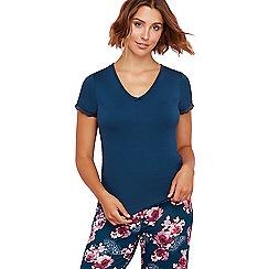 Gorgeous DD+ - Dark turquoise 'Rose' short sleeve pyjama top