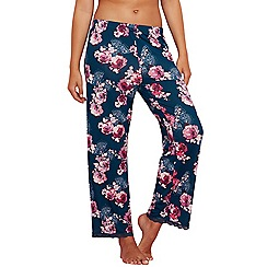 Gorgeous DD+ - Dark turquoise floral print 'Rose' pyjama bottoms