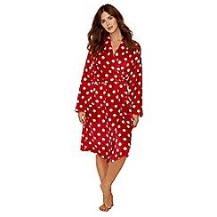 Lounge & Sleep - Red spot print fleece dressing gown