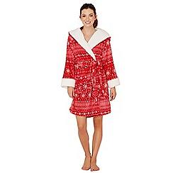 Lounge & Sleep - Red Fair Isle print fleece dressing gown