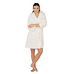 Lounge & Sleep - Cream polar bear appliqu  fleece dressing gown