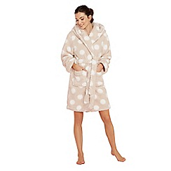 Lounge & Sleep - Taupe spot print fleece dressing gown