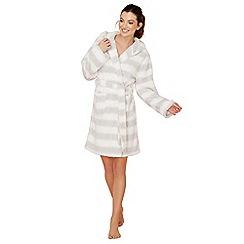 Lounge & Sleep - Grey stripe print fleece dressing gown