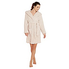 Lounge & Sleep - Cream reindeer embroidered fleece dressing gown