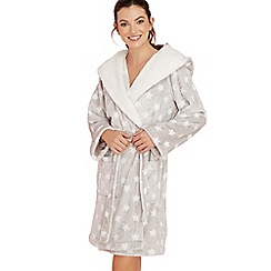 Lounge & Sleep - Grey star print fleece dressing gown