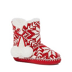 Lounge & Sleep - Red Fair Isle knit slipper boots