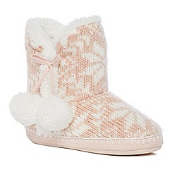 Lounge & Sleep - Light pink Fair Isle slipper boots
