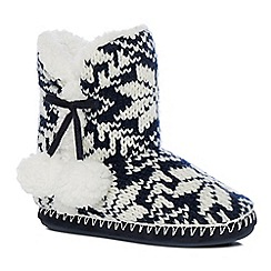 Lounge & Sleep - Navy Fair Isle knit slipper boots