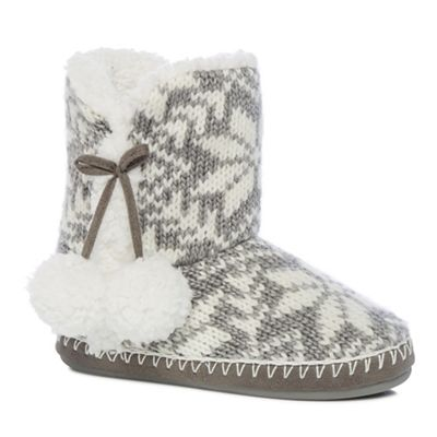 Lounge & Sleep Grey Fair Isle knit slipper boots | Debenhams