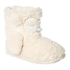 Lounge & Sleep - Cream owl slipper boots