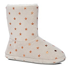 Lounge & Sleep - Grey star print slipper boots