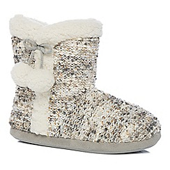 Lounge & Sleep - Grey sequin slipper boots