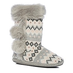 Lounge & Sleep - Pink Fair Isle knitted slipper boots