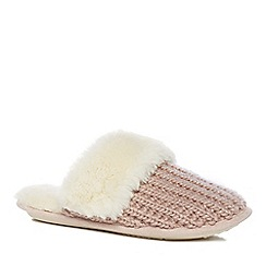 Lounge & Sleep - Pink knitted mule slippers