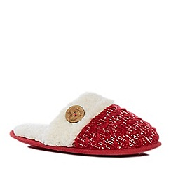 Lounge & Sleep - Red Sherpa knit mule slippers