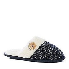 Lounge & Sleep - Navy Sherpa knit mule slippers