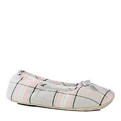 Lounge & Sleep - Grey check print ballet slippers