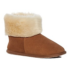 Lounge & Sleep - Brown suede slipper boots