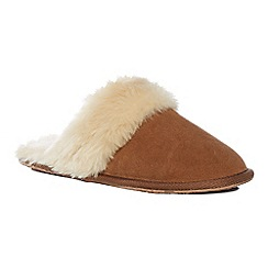 Lounge & Sleep - Brown suede mule slippers