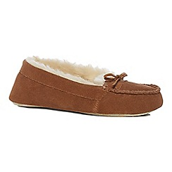 Lounge & Sleep - Brown suede moccasin slippers