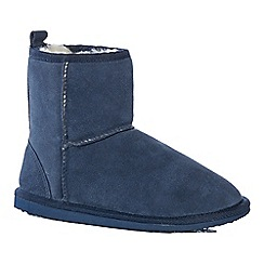 Lounge & Sleep - Navy suede slipper boots