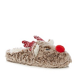 Lounge & Sleep - Brown reindeer appliqu  mule slippers
