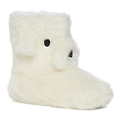 Lounge & Sleep - Cream polar bear appliqu  slipper boots