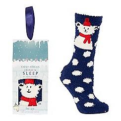 Lounge & Sleep - Navy polar bear appliqu  slipper socks