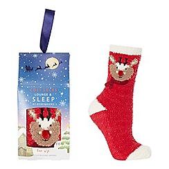 Lounge & Sleep - Red reindeer embroidered slipper socks
