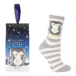 Lounge & Sleep - Grey penguin appliqu  bed socks