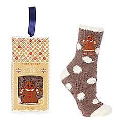 Lounge & Sleep - Brown gingerbread appliqué slipper socks