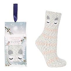 Lounge & Sleep - Grey owl embroidered slipper socks