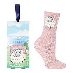 Lounge & Sleep - Pink sheep appliqu  slipper socks