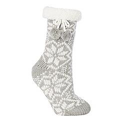 Lounge & Sleep - Grey chunky Fair Isle knitted slipper socks