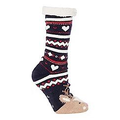 Lounge & Sleep - Navy reindeer knitted slipper socks