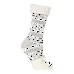Lounge & Sleep - Grey polar bear embroidered slipper socks