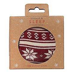 Lounge & Sleep - Red Fair Isle print socks
