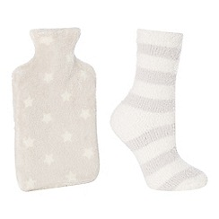 Lounge & Sleep - Grey star print fleece hot water bottle and socks set