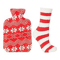 Lounge & Sleep - Red Fair Isle print fleece hot water bottle and socks set