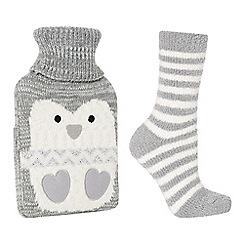 Lounge & Sleep - Grey penguin embroidered hot water bottle and socks set