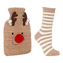 Lounge & Sleep - Brown stripe print hot water bottle and socks set