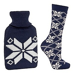 Lounge & Sleep - Navy hot water bottle and socks set