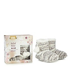 Totes - Grey bobble knit slipper boots