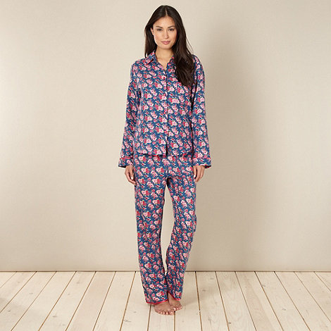 Cyberjammies - Blue brushed floral pyjama set