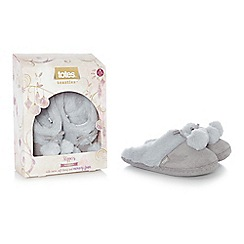 Totes - Grey suedette fur pom pom mule slippers