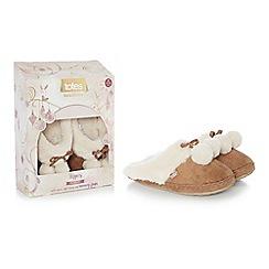 Totes - Tan suedette fur pom pom mule slippers