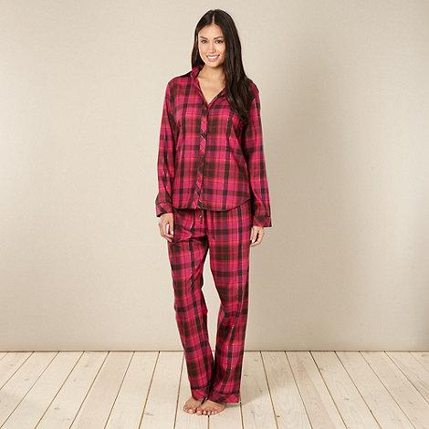 Cyberjammies - Online exclusive dark pink checked pyjama set